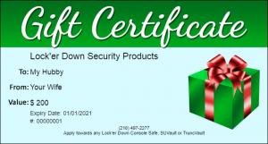 Gift Certificates - Lock'er Down® - Gift Certificate