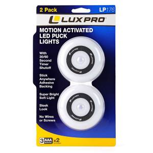Lighting - LUX PRO - Lux Pro Motion Activated LED Puck Lights 2-PK